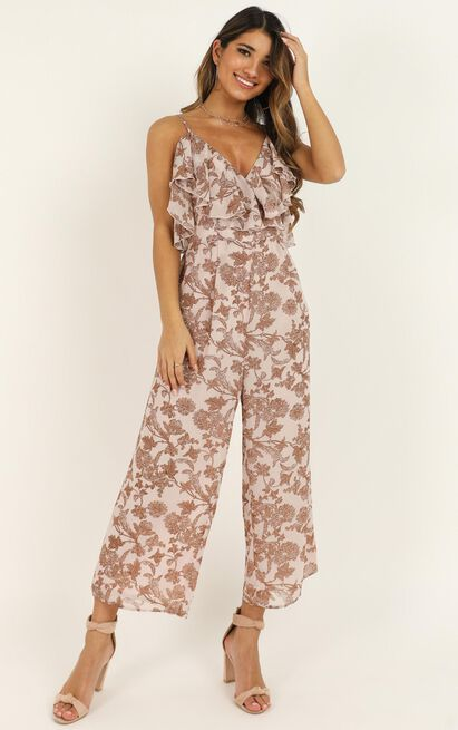 Living The Life Jumpsuit in off white floral - 20 (XXXXL), White, hi-res image number null
