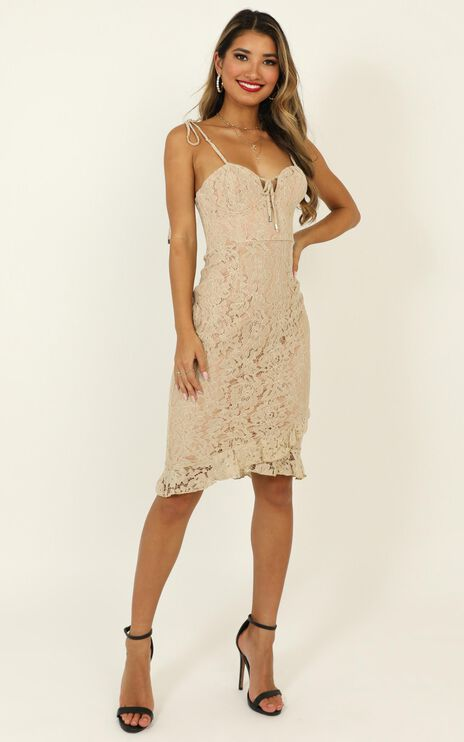 Find Our Way To Love Dress In Beige Lace