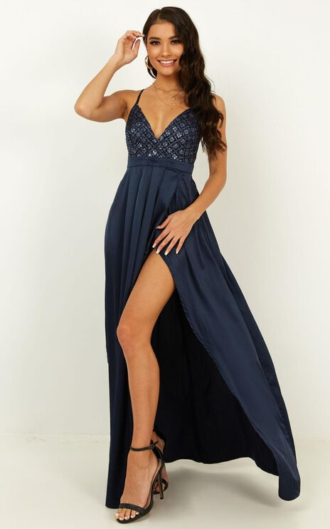 Sugar Snap Maxi  Dress In Navy Sequin