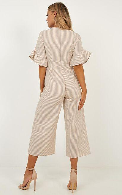 Respect Jumpsuit in beige stripe - 14 (XL), Beige, hi-res image number null