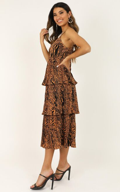 In The Wilderness dress in animal print - 12 (L), Brown, hi-res image number null