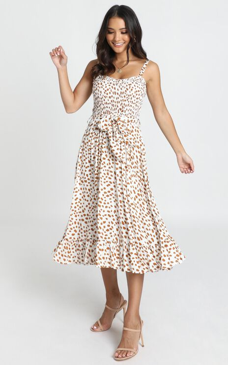 Kyra Midi Dress In Tan Spot