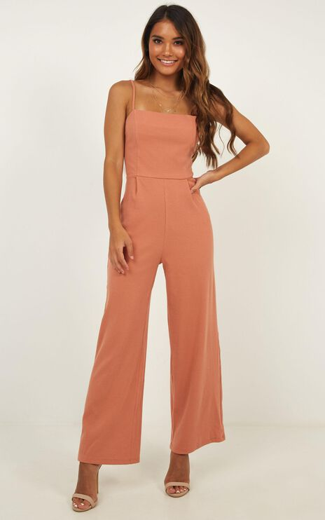All Good Feels Jumpsuit In Peach