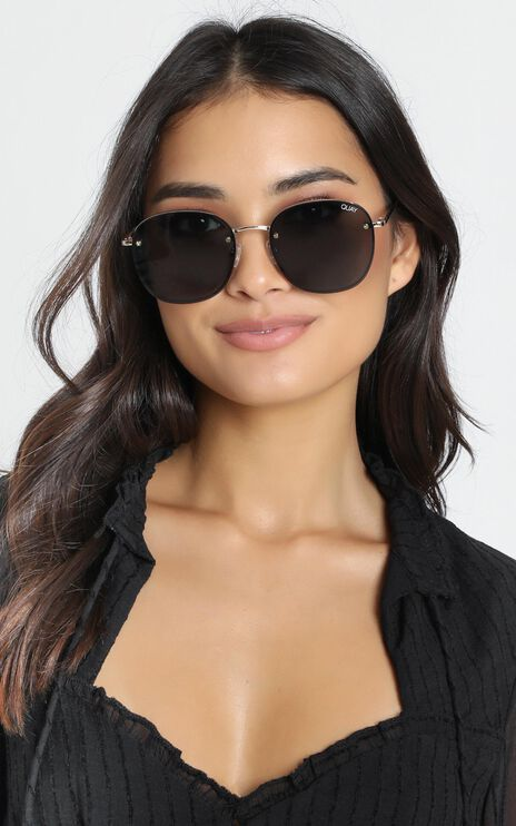 Quay - Jezabell Rimless Sunglasses In Gold And Smoke Lens