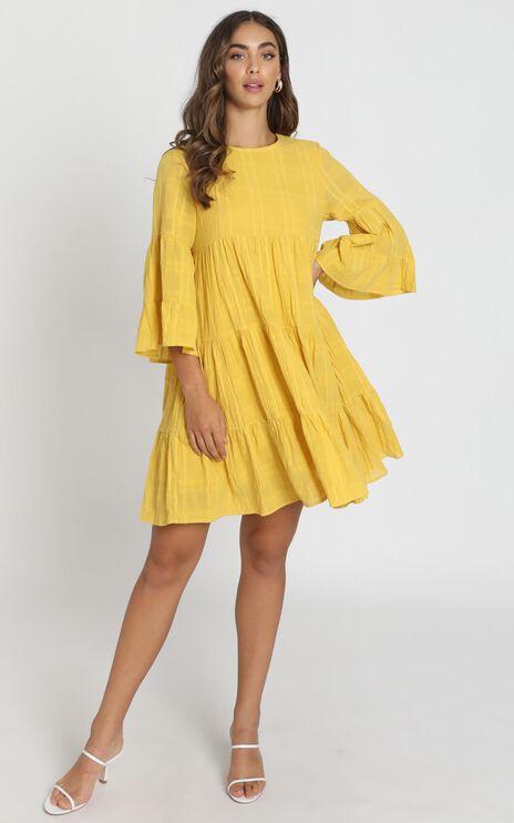 Rhea Textured Smock Dress In Mustard