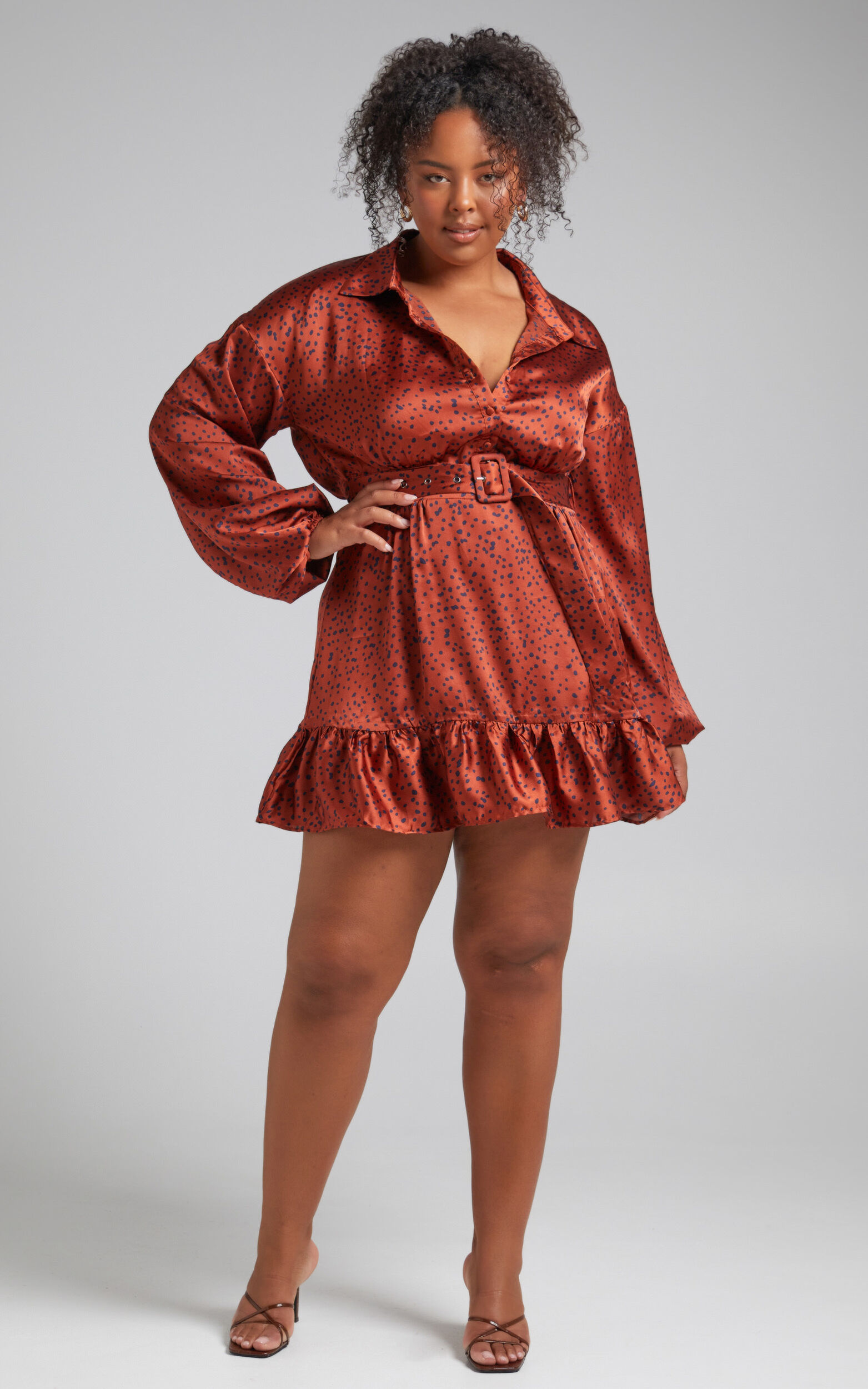 Cooma Belted Long Sleeve Collared Mini Dress in Copper Spot - 04, GLD1, super-hi-res image number null