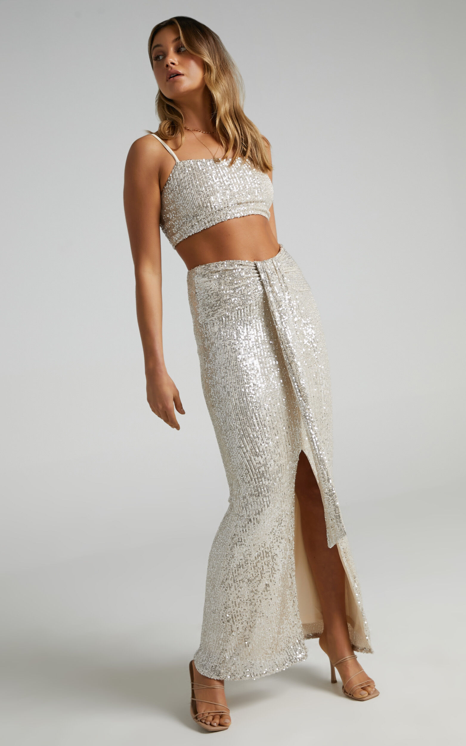 Amae Square Neck Drape Two Piece Set in Champagne Sequin - 06, GLD2, super-hi-res image number null