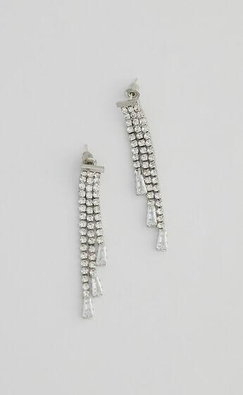Embeth Drop Earrings in Silver Diamante