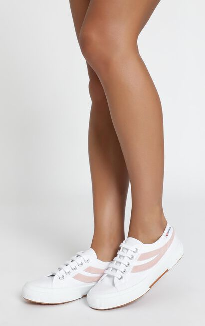 Superga - 2953 Swollowtail Cotusuede Sneaker in white and pink - 11, White, hi-res image number null