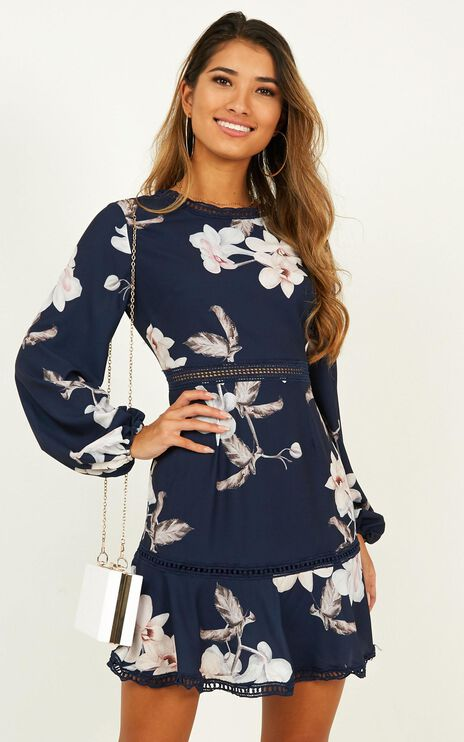 Not Missing Out Dress In Navy Floral