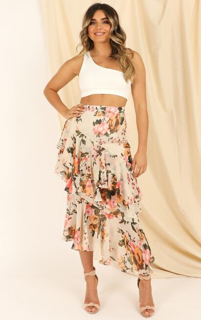 Pleased To Meet You Skirt In Cream Floral - 20 (XXXXL), Cream, hi-res image number null