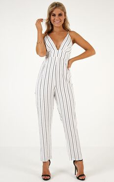 Love You Like That Jumpsuit in Black Stripe