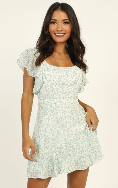 Take Things Well dress in mint floral - 14 (XL), Green, hi-res image number null