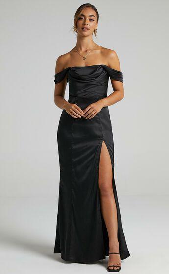 Faye Off the Shoulder Maxi Dress in Black Satin