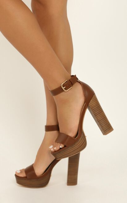 Showpo X Billini - Tahiti heels in dark tan - 10, Brown, hi-res image number null