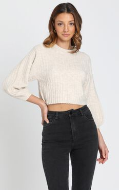 Cute and Cosy Knit Jumper in Beige Marl