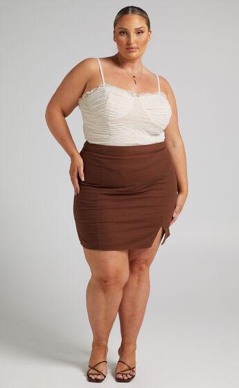 International Babe Mini Skirt in Chocolate