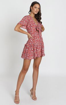 Georgia Tie Front Mini Dress In Red Floral