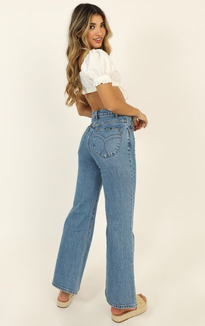 Rollas- Eastcoast Crop Flare Jean in cindy blue - 12 (L), Blue, hi-res image number null