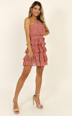 Kisses One Shoulder Frill Dress In Red Print