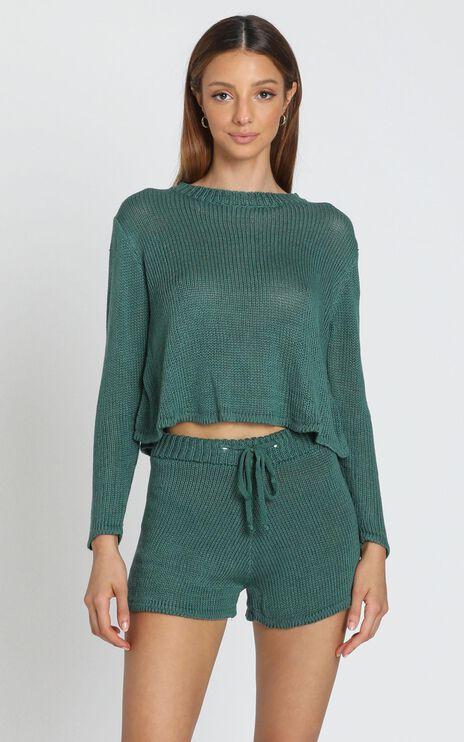 Lenka Knit Two Piece Set in Emerald