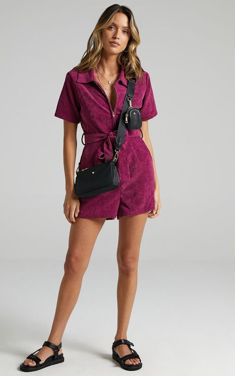 Embala Playsuit in Mulberry Cord