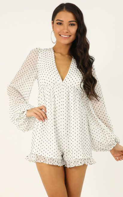 Popping candy playsuit in white spot - 20 (XXXXL), White, hi-res image number null