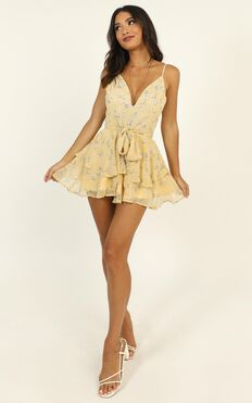 Summer Breeze Playsuit In Yellow Floral