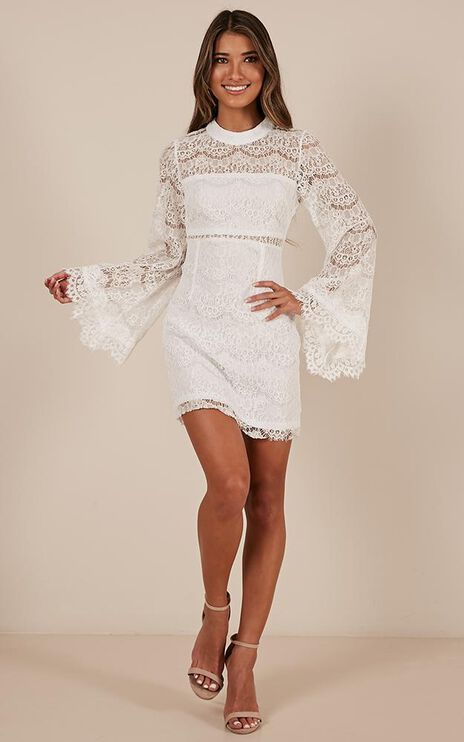 Never Start Dress in white lace