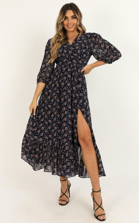 Copied Over Dress In Navy Floral