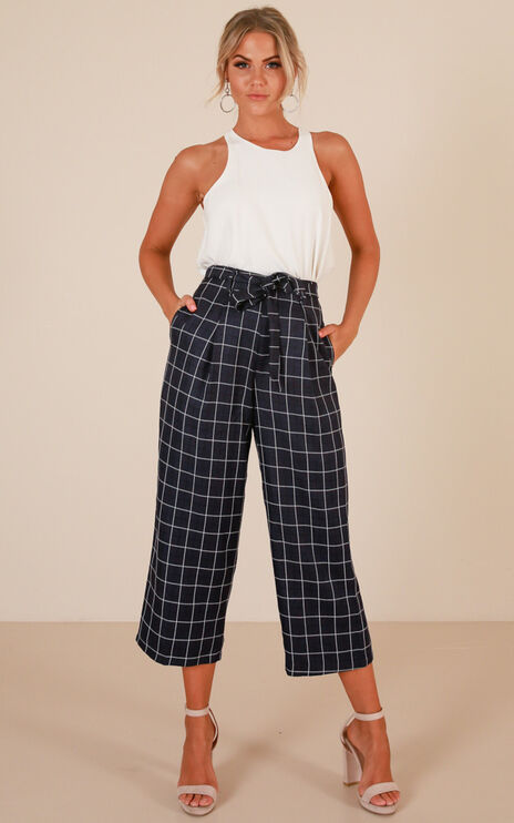 Nine To Fine Pants In Navy Check