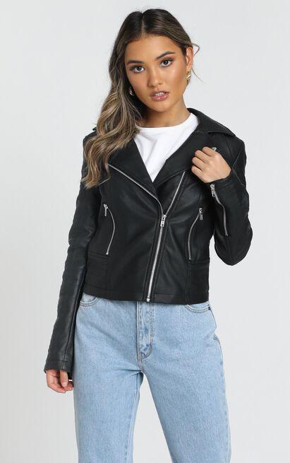 Same Language Jacket In Black Leatherette - 16 (XXL), Black, hi-res image number null
