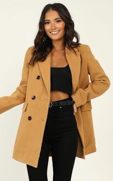 Confidence Is Key Blazer Coat In Beige