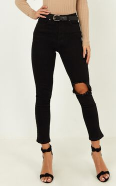Bobbi Jeans In Washed Black Denim