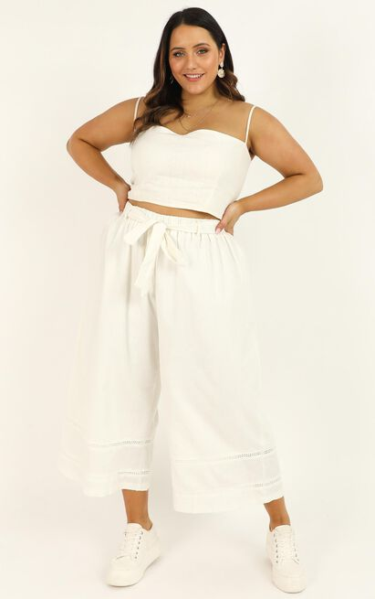 Better Believe It Pants In White Linen Look - 18 (XXXL), White, hi-res image number null