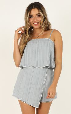 Say It To Me Now Playsuit In Blue