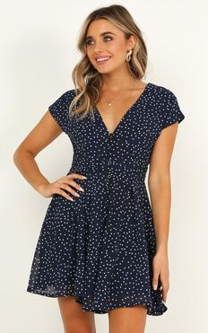 Hey Now Dress In Navy Spot