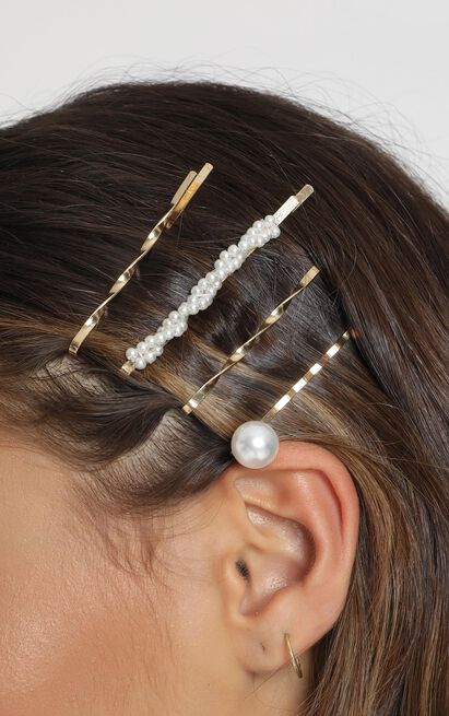 Hold It Up Hair Clip Pack In Gold And Pearl, , hi-res image number null