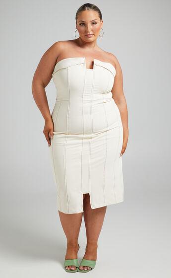 Paulina Strapless Contrast Detail Midi Dress in Beige