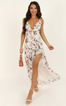 So Clumsy I Am Falling In Love Dress In White Floral