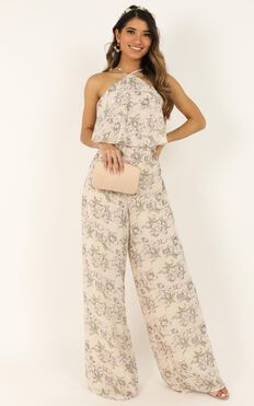 Better In The Spring Jumpsuit In Cream Floral