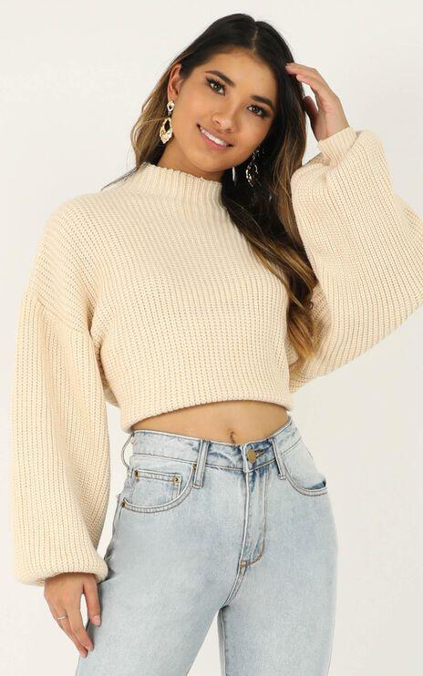 I Feel Love Oversized Knit Jumper in Cream