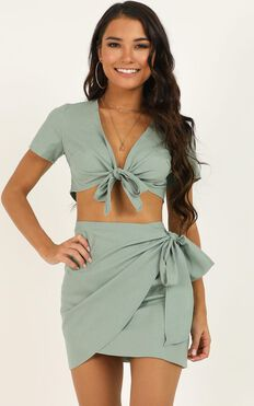 Gather Your Things Two Piece Set In Sage Linen Look