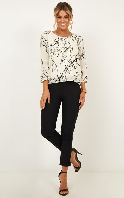 Stem Top In white floral - 20 (XXXXL), White, hi-res image number null