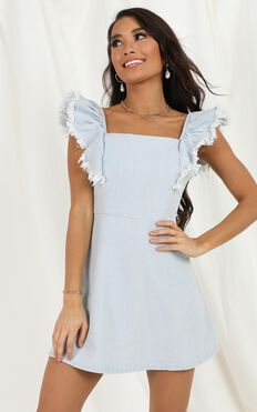 From The Get Go Denim Dress In Light Blue