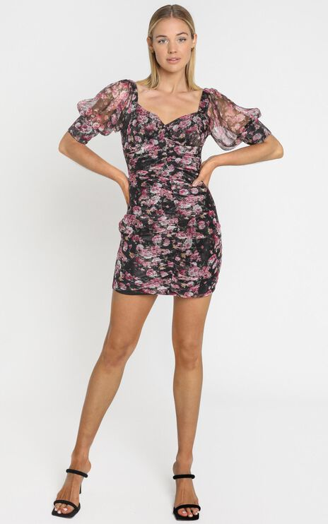 Rosey Short Sleeve Mini Dress In romantic black floral
