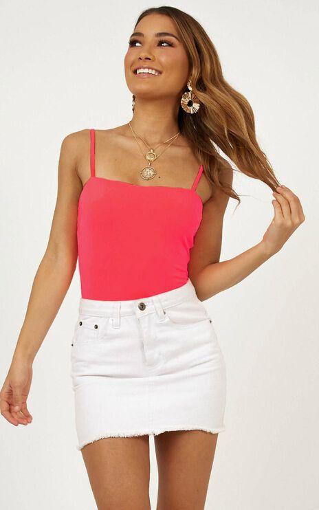 Hit The Jackpot Bodysuit In Neon Pink
