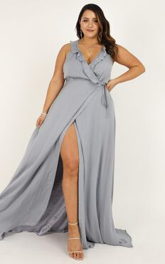 Losing My Edge Dress In Dove Blue Satin