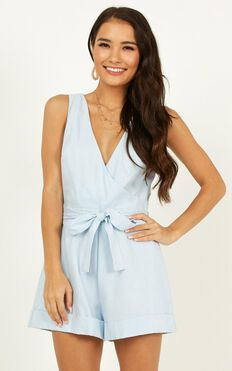 Feeling Alright Playsuit In Pale Blue