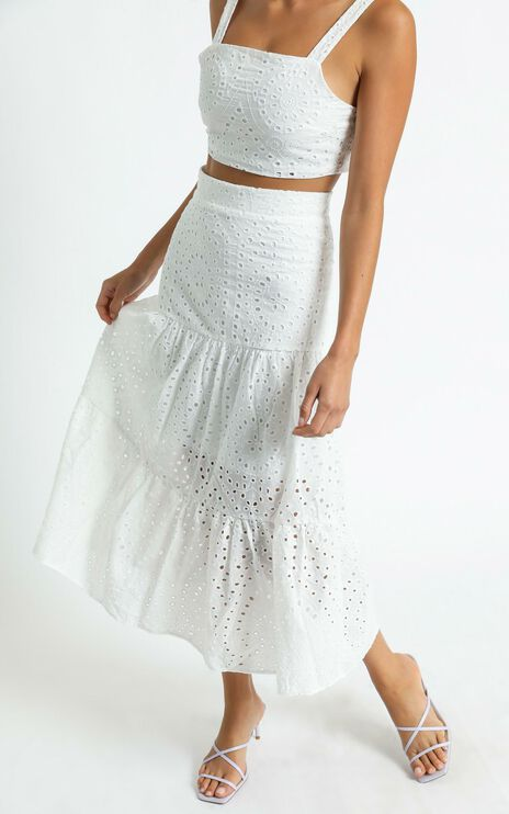 Matilda Embroidered Two Piece Set In White
